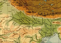 A 1908 map showing the course of the Ganges and its tributaries. Major left-bank tributaries include Gomti (Gumti), Ghaghara (Gogra), Gran Gandak, i Kosi; major right-bank tributaries include Yamuna, Son and Damodar.