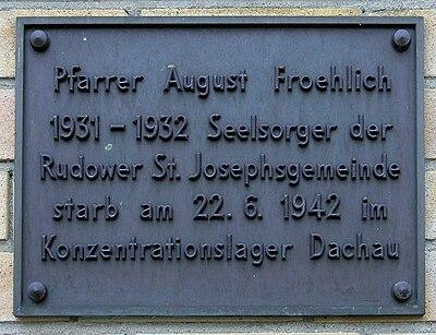 Gedenktafel Alt-Rudow 46 (Neuk) August Froehlich