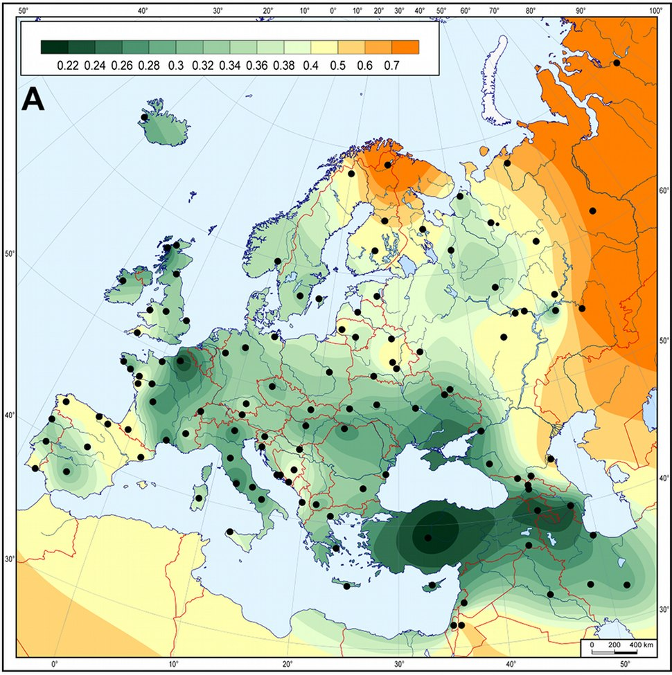 Genetic matrilineal distances between European Neolithic Linear Pottery Culture populations (5,500–4,900 calibrated BC) and modern Western Eurasian populations