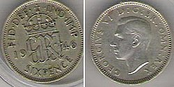 A 1946 Sixpenny Bit Of George Vi