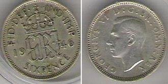"Bit (money) - A 1946 ""sixpenny bit"" of George VI."