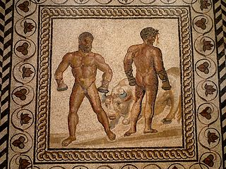 mosaic depiction of Roman boxers (c. 175 AD) – History of Boxing