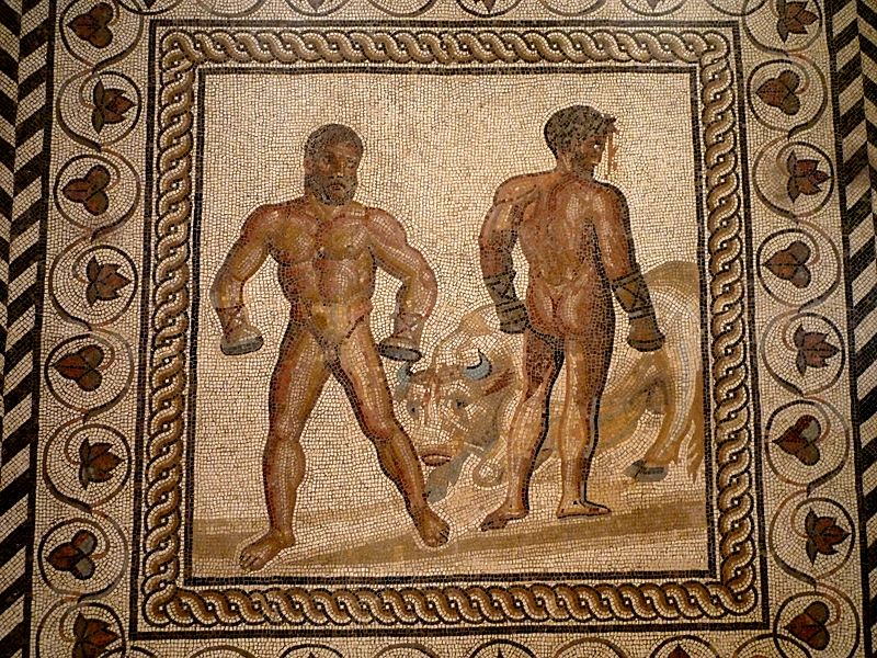Floor Mosaic of Roman Boxers and a Bull