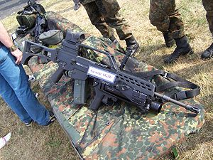 Heckler & Koch AG36 - The AG36 grenade launcher mounted to a G36 A2 rifle of the German Army