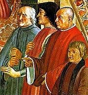 Lorenzo de' Medici between Antonio Pucci and Francesco Sassetti, with Giulio de' Medici, fresco by Ghirlandaio.