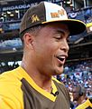 Giancarlo Stanton takes a breather during the T-Mobile Home Run Derby. (28470211122).jpg