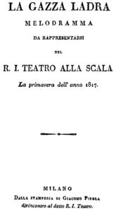 Titelblatt des Librettos, Mailand 1817