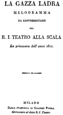 Gioachino Rossini - La gazza ladra - titlepage of the libretto - Milan 1817.png