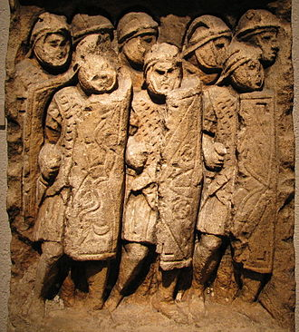 Shield wall - Roman legionaries in formation, Stele found at Glanum, on display at the Gallo-Roman Museum of Lyon-Fourvière