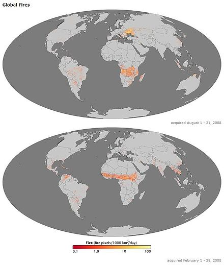Two illustrations of the earth, one above the other. The seas are dark gray in color and the continents a lighter gray. Both images have red, yellow, and white markers indicating where fires occurred during the months of August (top image) and February (bottom image) of the year 2008.