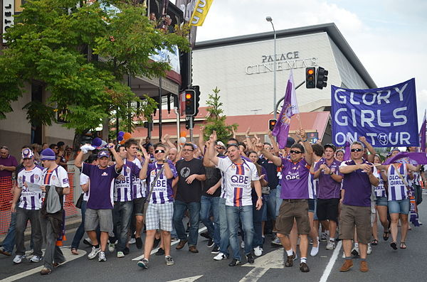 Perth Glory supporters prior to the 2012 A-League Grand Final Glory Girls (7108834843).jpg