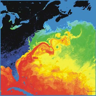 Marine weather forecasting - Surface temperature in the western North Atlantic, the Gulf Stream is in red
