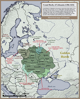 Gediminas - Position of Grand Duchy of Lithuania in Eastern Europe until 1434.