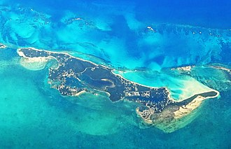 Green Turtle Cay - Green Turtle Cay from aeroplane
