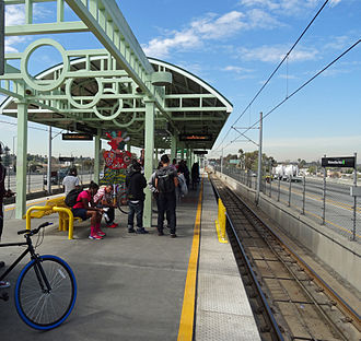 Interstate 105 (California) - Metro Green Line platform at Willowbrook/Rosa Parks Station, which lies between the east and westbound lanes of I-105.