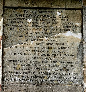 Gregory Wale - Inscription on the obelisk