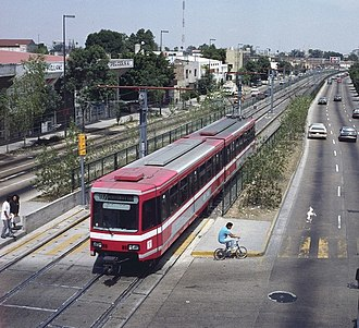 Guadalajara light rail system - Line 1 runs at-grade south of the city center and has several level crossings.