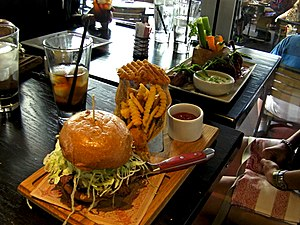 Guy Fieri - Image: Guy Fieri's Vegas Kitchen & Bar burger and wings