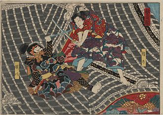 Kenjutsu - Woodblock print by Utagawa Kunisada I (unsigned, the print is the upper part of a 'two scenes' print, only the lower part is signed). The actors Seki Sanjūrō III and Bandō Shūka I as Inukai Genpachi and Inuzuka Kiba in the Play 'Satomi hakkenden', performed at the Ichimura theatre in 1852.