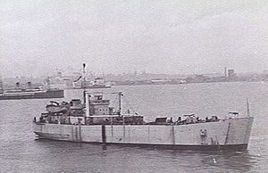 HMAS Labuan leaving Williamstown, Victoria for Macquarie Island in May 1949