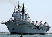 HMS Invincible. Two Invincible class aircraft carriers are currently in service. A third carrier is in reserve.