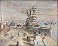 HMS Superb at Constantinople - 'HMS Lord Nelson' and the French 'Diderot' in the distance. Seaforth Highlanders marching along the quay. From 'HMS Caesar'. Art.IWMART2495.jpg