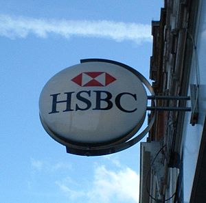HSBC logo on building. Taken by C Ford - march 04.