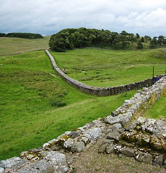 Hadrian's Wall - Part of Hadrian's Wall from Housesteads showing the Knag Burn Gateway in the valley