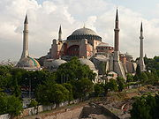 St Sophia, built by emperor Justinian I in the 6th century AD, still stands today. The minarets are a later, Islamic addition.