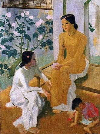Vietnamese art - To Ngoc Van, Deux Jeunes filles et un enfants, 1944, oil on canvas, Museum of Fine Arts, Hanoi