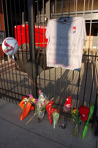 Josh Hancock -  Shortly after his death, memorials sprang up outside Busch Stadium. At the above memorial, the staff of a bar owned by former Cardinals pitcher Al Hrabosky paid their respects to Hancock.