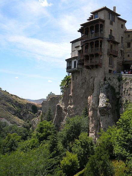 15th century Hanging Houses in Cuenca, Spain from the Early Renaissance, and the Early modern period. Hanging houses in Cuenca Spain.jpg