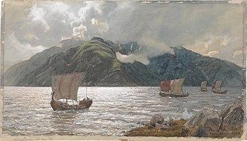Hans Gude - Vikingskip i Sognefjorden - 1889.jpg