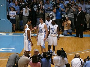 North Carolina Tar Heels - 2008 men's basketball players Wayne Ellington, Danny Green, Tyler Hansbrough, Ty Lawson, and Deon Thompson
