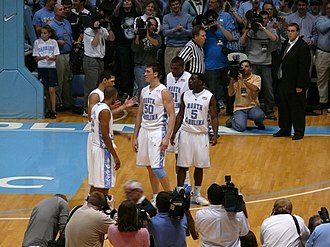 Tyler Hansbrough - Hansbrough is congratulated after setting the new school scoring record