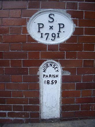 St Pancras, London - Boundary stone between St Pancras and Hornsey at Highgate