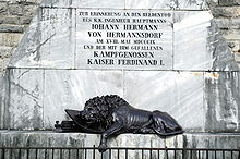 Monument to Johann Hermann and the fallen at Predil Pass