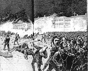 Eight-hour day - Artist impression of the bomb explosion in Haymarket Square