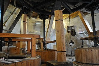 Heckington Windmill - A view of the grinding floor in mid-2011