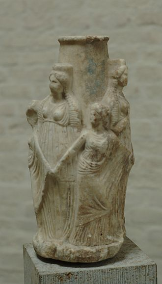 Greek underworld - Triple Hecate and the Charites, Attic, 3rd century BCE (Glyptothek, Munich)