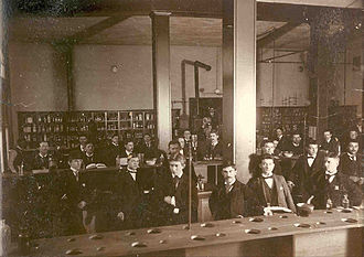 St. Louis College of Pharmacy - A class in a pharmacy lab at the college during the 1892-93 academic year.
