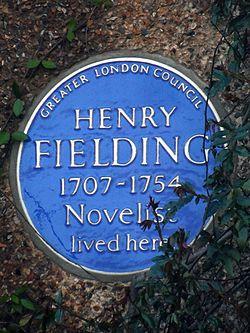 Henry fielding 1707 1754 novelist lived here