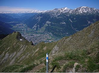 Grisons - Chur, capital of Grisons seen to the west and the Rhine valley towards its source.