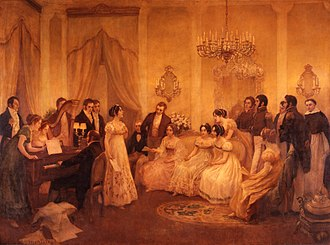 Argentine National Anthem - The Argentine National Anthem being played for the first time in Mariquita Sánchez's house (painting by Pedro Subercaseaux)