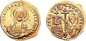 John I Tzimiskes - Gold histamenon of John Tzimiskes, showing him crowned by the Virgin Mary.