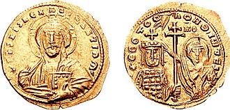 John I Tzimiskes - Gold histamenon of John Tzimiskes, showing him crowned by the Virgin Mary.