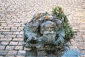 Alfred Hrdlicka - Statue of kneeling Jew, located at the base of the Monument against War and Fascism, Albertinaplatz