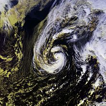 Satellite imagery depicting a hurricane near its peak intensity on November 27