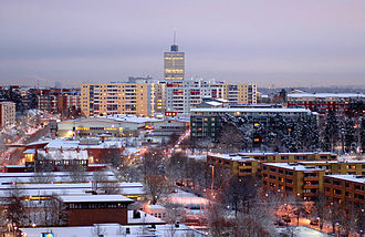 The Swedish suburbs of Husby/Kista/Akalla are built according to the typical city planning of the Million Programme. Husby Kista.jpg