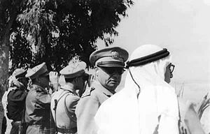 Jamil Mardam Bey - General Husni al-Za'im, the Chief of Staff, at the warfront in Palestine with Defense Minister Jamil Mardam Bey in 1948.